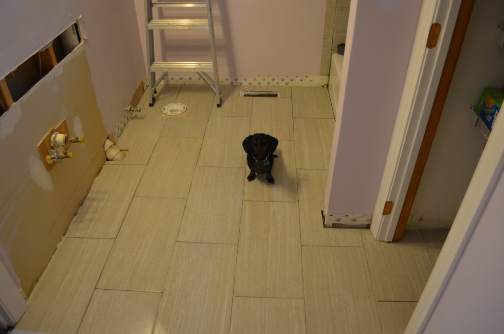 Completed tile floors.