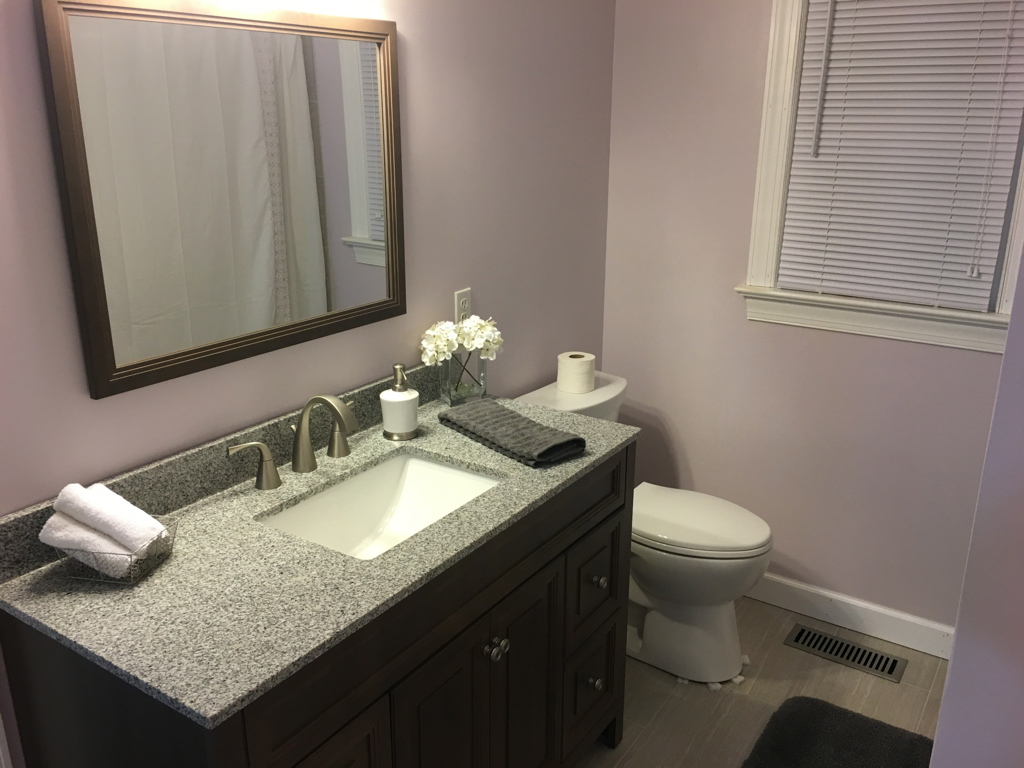 Completed bathroom renovation.
