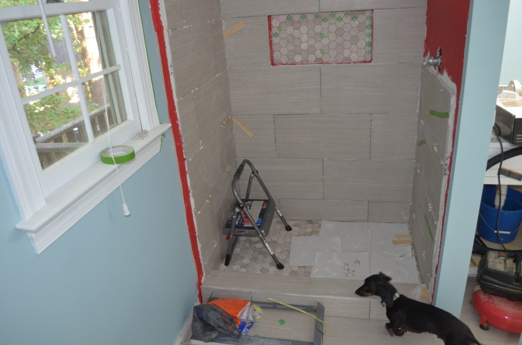 Tile going up in the shower.